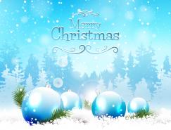 圣诞球雪花唯美背景矢量素材