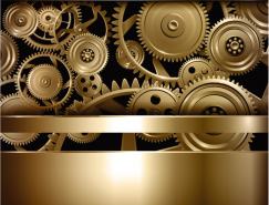 质感金色齿轮背景矢量素材