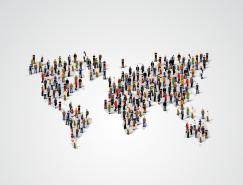 时尚商务人群世界地图背景矢量素材