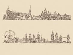 手绘线描著名城市街景矢量素材