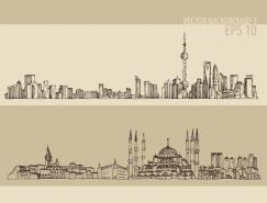 手繪線描著名城市街景矢量素材(二)