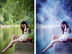 Photoshop打造唯美的蓝紫色江景美女图片
