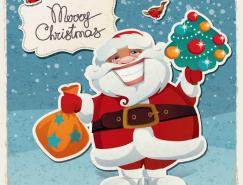 複古風格聖誕老人矢量素材