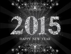 2015炫亮黑白背景矢量素材
