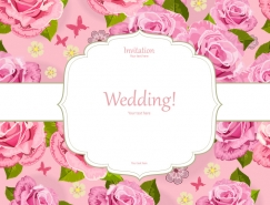 高雅玫瑰粉色背景卡片矢量素材