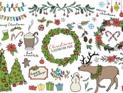 手绘圣诞元素设计矢量素材