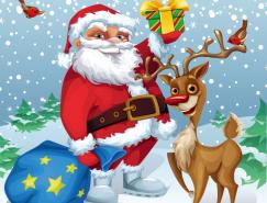 卡通聖誕老人與馴鹿矢量素材