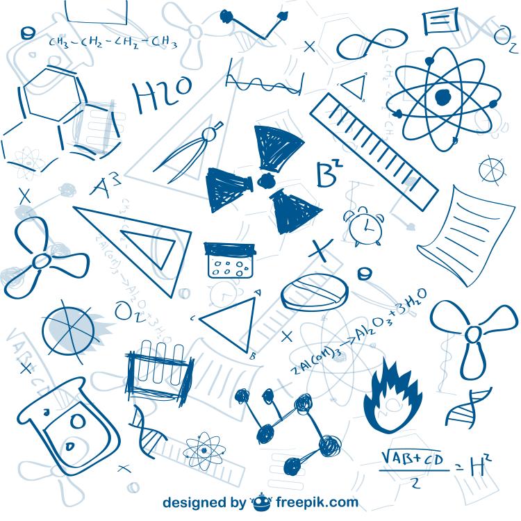 手绘化学元素背景矢量素材