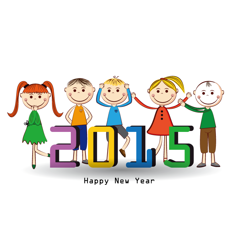 2015可爱儿童新年背景矢量素材