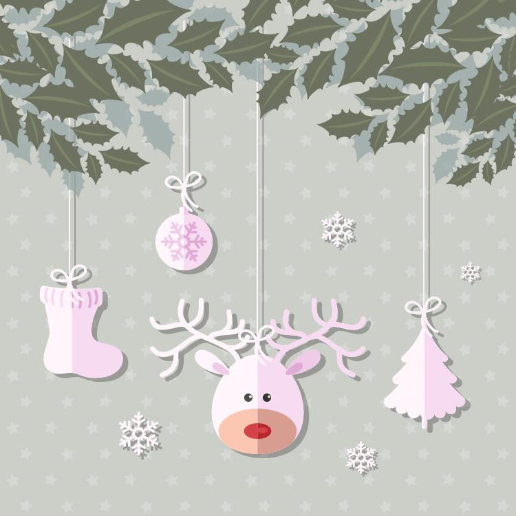 圣诞剪纸吊饰矢量素材