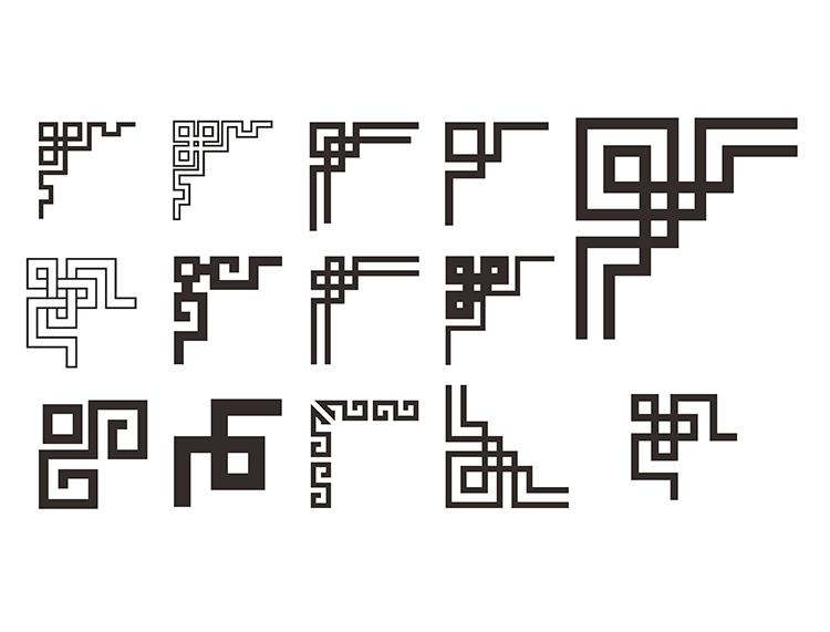 中国古典花纹边角矢量素材