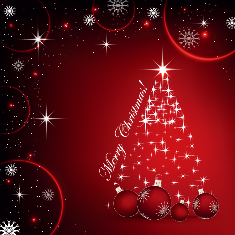 梦幻星光圣诞树背景矢量素材