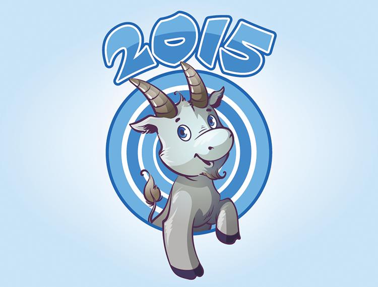 2015卡通山羊背景矢量素材