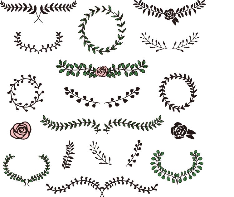 手绘花边和花环矢量素材