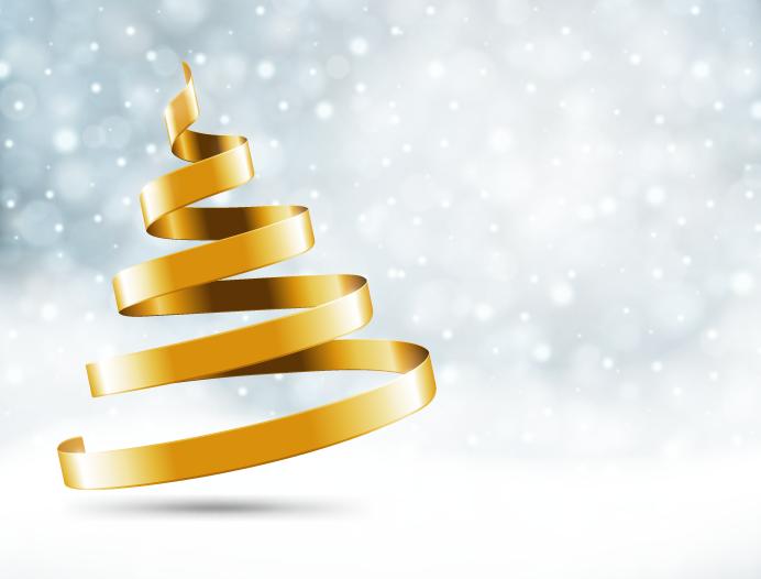 金色丝带圣诞树背景矢量素材