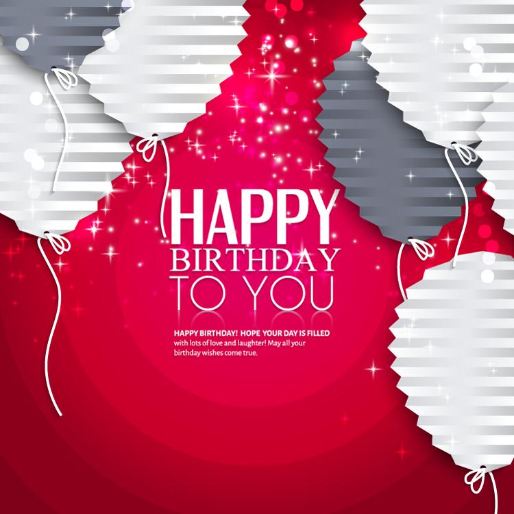 折纸气球生日快乐背景矢量素材