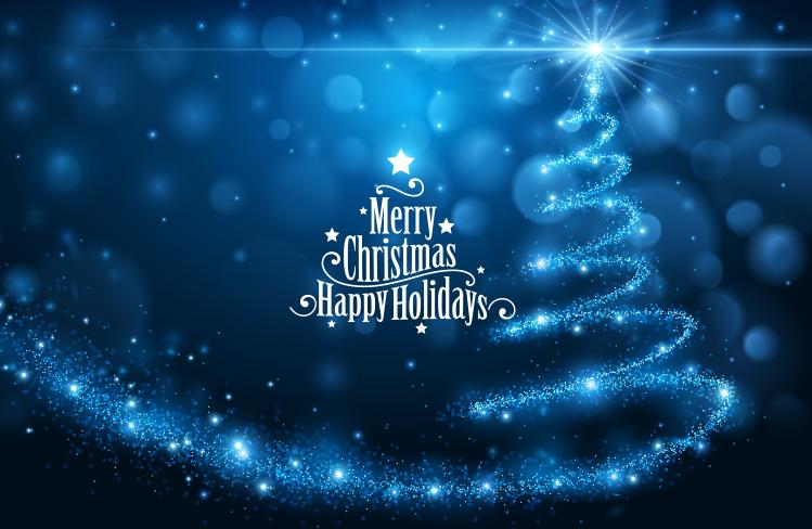 蓝色梦幻光束圣诞树背景矢量素材