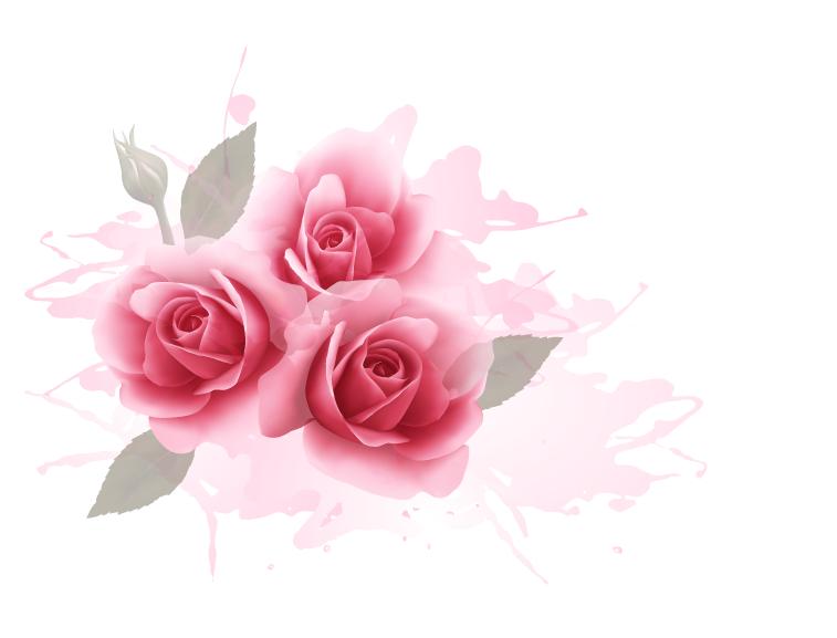 浪漫粉玫瑰水彩背景矢量素材