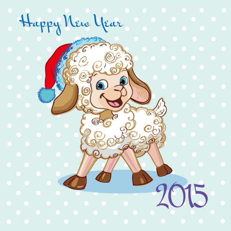 2015卡通小绵羊矢量素材