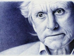Toni Efer精细的圆珠笔素描肖像