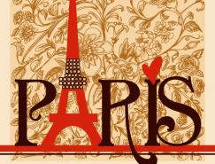 巴黎藝術字花卉背景矢量素材
