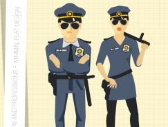 卡通警察插画矢量素材