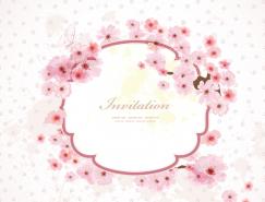 淡雅粉色花卉卡片矢量素材