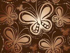 手绘蝴蝶无缝背景矢量素材