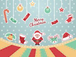卡通聖誕老人和糖果吊球矢量素材