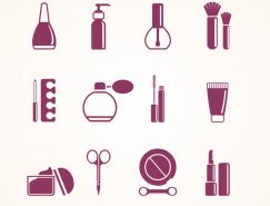 化妝品和化妝工具圖標矢量素材