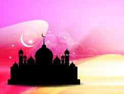 伊斯兰城堡炫彩背景矢量素材