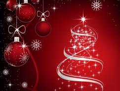 梦幻星光圣诞树和吊球矢量素