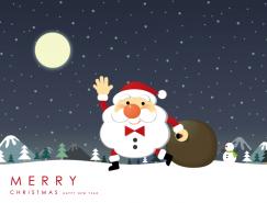 聖誕夜卡通聖誕老人節日背景矢量素材