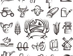 手绘农场主题图标矢量素材