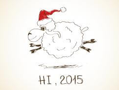 2015手绘绵羊背景矢量素材