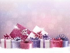 圣诞礼盒雪花背景矢量素材