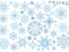 美丽蓝色雪花矢量素材