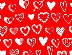 情人節手繪愛心背景矢量素材