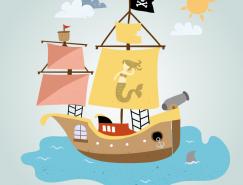 卡通风格海盗船矢量素材
