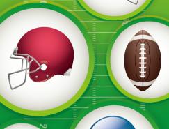美式橄榄球和头盔矢量素材