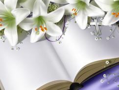 白色♀百合花和书PSD素材