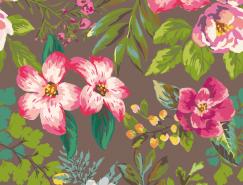 复古风格花卉图案无缝背景矢量素材