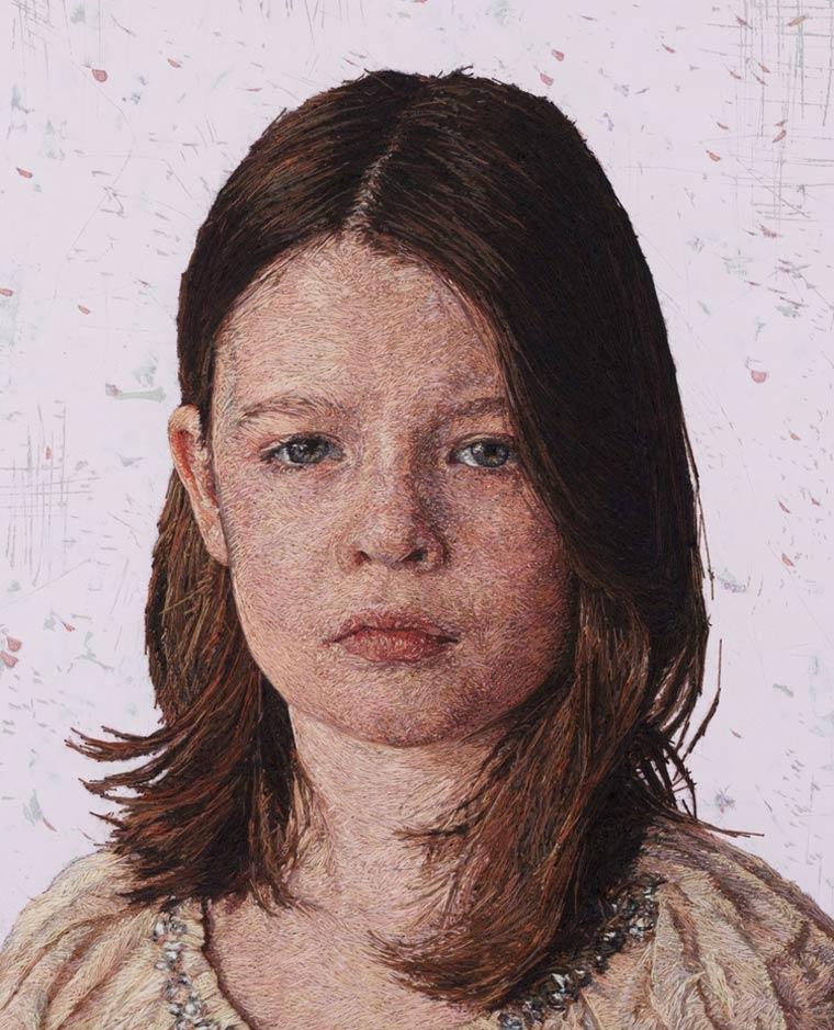 Cayce Zavaglia超写实风格的刺绣肖像画作品欣赏