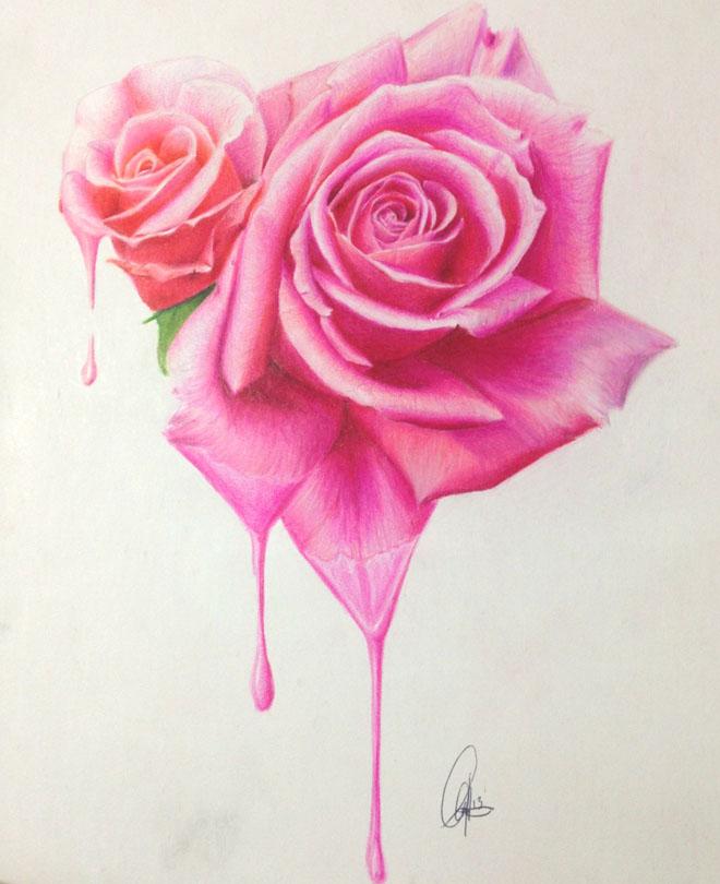 漂亮的玫瑰花绘画作品欣赏