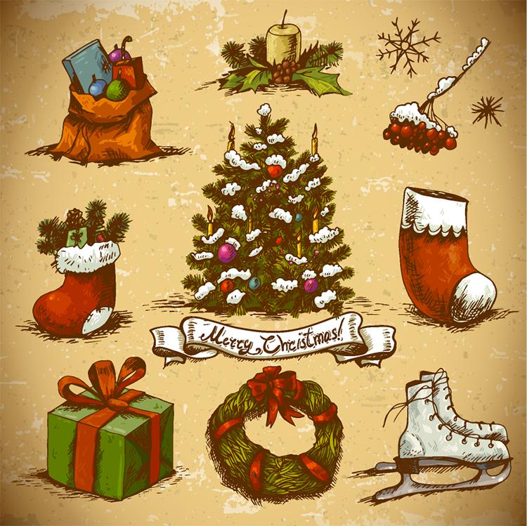圣诞节,手绘,圣诞花环