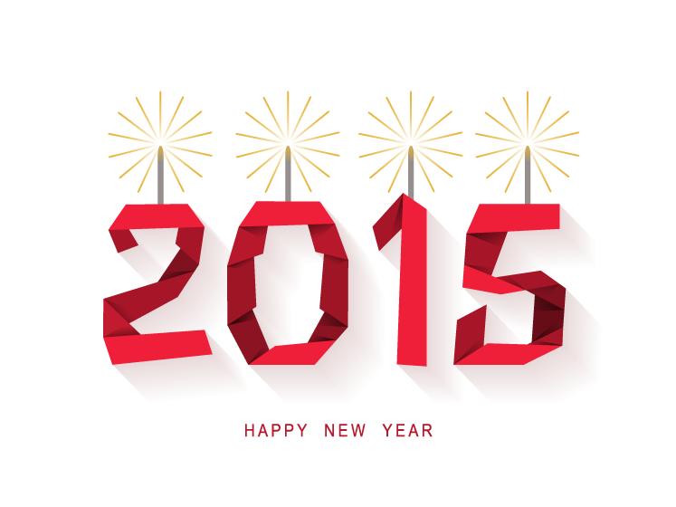 红色折纸风格2015艺术字矢量素材