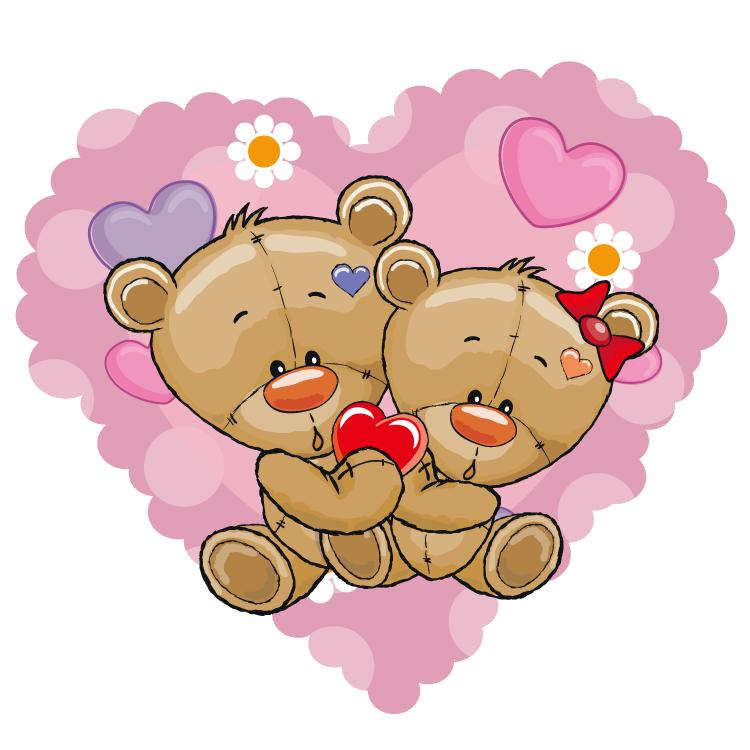 卡通泰迪熊爱心背景矢量素材
