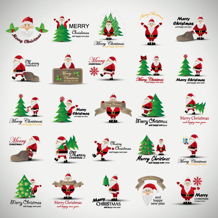 20个卡通圣诞老人图标logo设计矢量素材
