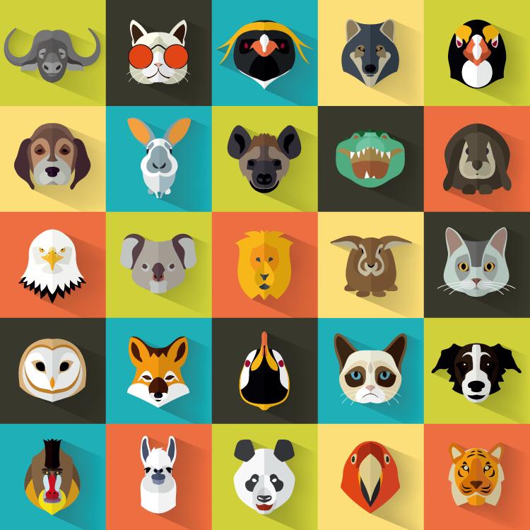 扁平风格动物头像图标设计矢量素材(1)