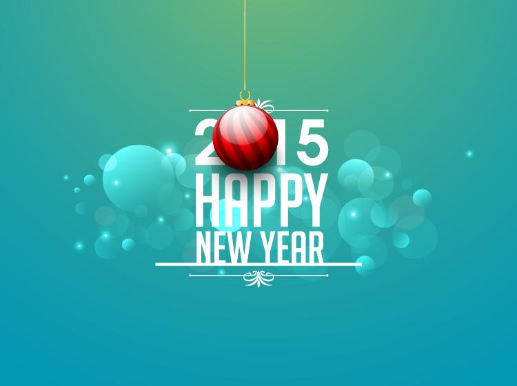 eps格式,红色吊球,2015,新年快乐,花边,光晕,矢量图